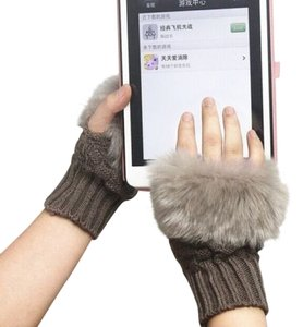 Other Faux Fur Knit Fingerless Gloves Free Shipping