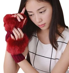 Other Maroon Faux Fur Fingerless Gloves Free Shipping