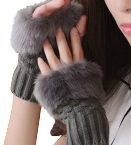 Other Gray Faux Fur Fingerless Gloves Free Shipping