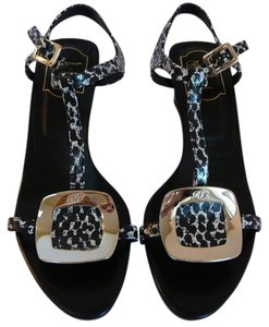Roger Vivier 38 New 39 Black and White Sandals