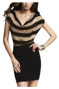 Express short dress Camel/Black Banded Sweater Striped on Tradesy