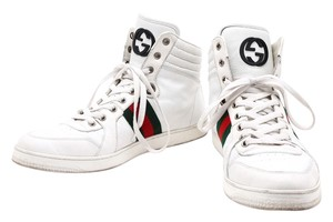 Gucci Leather High Top Red/Green Stripe Gg White Athletic