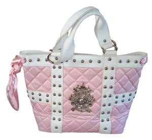 My Flat in London Tote in Pink with white leather detailing