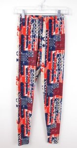 Pickyboo Red White Blue Americana 4th Of July Flag America Stretch Leggings Lxl