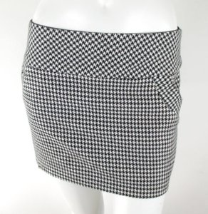 Lux Urban Outfitters Houndstooth Wool Blend Micro Mini Skirt Off White, Black