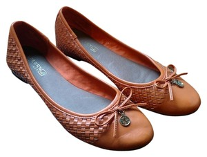 Sperry Ballet Chic Leather Weaved Orange Flats