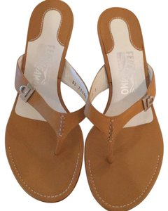 Salvatore Ferragamo Camel with silver logo hardware Sandals