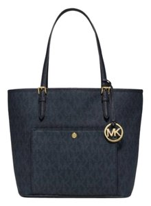 Michael Kors Jet Set Item Snap Pocket Jet Set Travel Tote in BALTIC BLUE Gold tone
