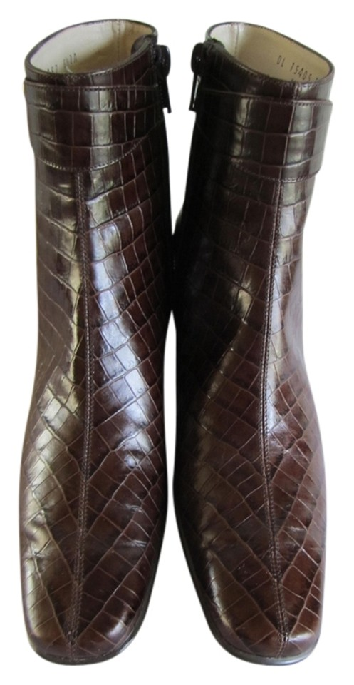Salvatore Ferragamo Brown Croc Lined Embossed Leather Uppers Leather Lined Croc Brass Hardware Boots/Booties 55dcf2