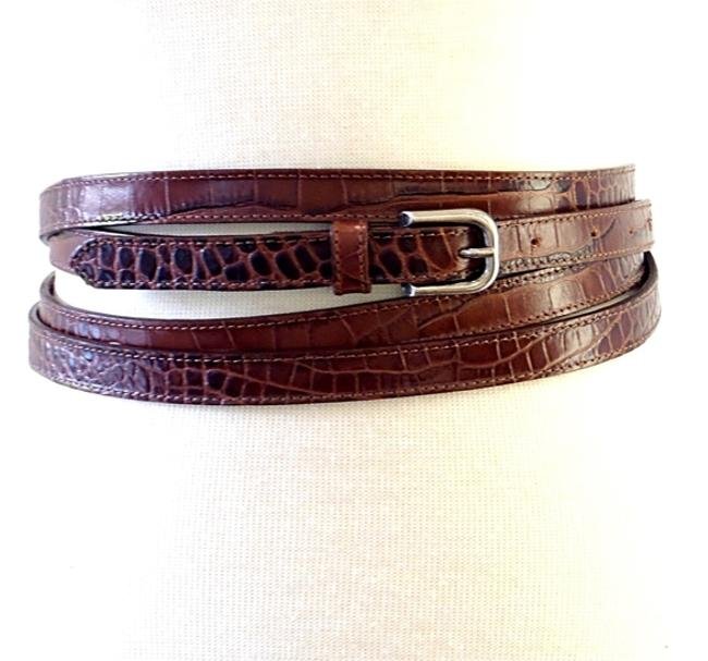 Item - Brown Embossed Leather Multi-wrap Belt