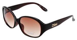 Chloé NEW Chloe CL2275 Brown Oval Gradient Gold Accent Sunglasses - Made in France