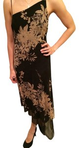 BCBGMAXAZRIA Silk Dress Floral Print Top Black Tan Beige