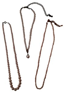 Set of 3 Women's Fashion Faux Pearl Necklaces - Ivory