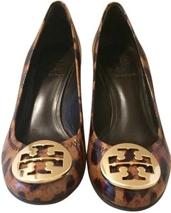 Tory Burch Leopard Patent Leather Multi Wedges