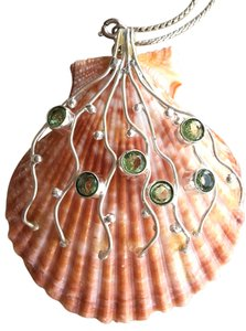 Other Genuine Sea Shell 925 Sterling Silver Peridot Pendant Necklace