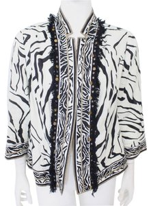 Chico's Open Front Fringe Zebra Print Animal Print Black Jacket