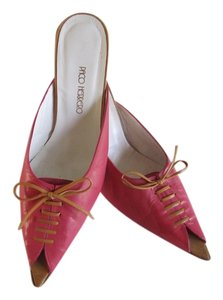 PACO HERRERO Bow Lace Front Gently Used PINK Mules
