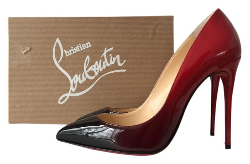 buy popular 1fcb8 23d4b Christian Louboutin Red Ombre Pigalle Follies 100 Degrade Patent Leather  Black Pumps Size US 8