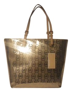 Michael Kors Metallic Tote in Pale Gold