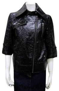 Tulle Crinkle Faux Patent Leather Motorcycle Jacket