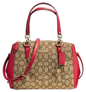 Coach Mini Christie Carryall Satchel in Khaki Classic Red