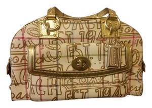 Coach Tattersal Ivory Gold Satchel