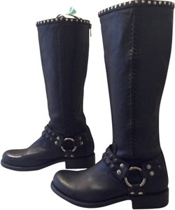 Frye Studded Leather Harness Riding Biker Black Boots