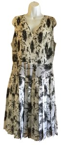 Halogen short dress White with black print Fun Detailed on Tradesy
