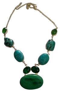 New Turquoise Emerald Gemstone Necklace 925 Silver J260