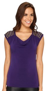 MICHAEL Michael Kors New With Tags Size Medium Cowl-neck Designer Studded Cap-sleeve Top Purple