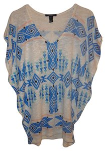 Forever 21 Top Cream/Blue Tribal Print