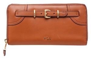 Ralph Lauren * RAPLH LAUREN BUCKLED ZIP AROUND LEATHER WALLET BROWN