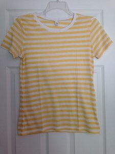 Nordstrom Striped Summer Casual T Shirt Yellow