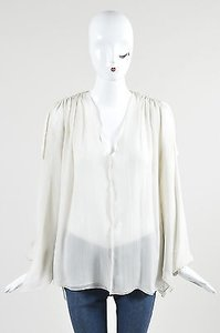 Lanvin Silk Chiffon Sheer Tassel Oversized 1 Top Cream