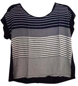 Comfortable Striped Crop T Shirt Navy Blue