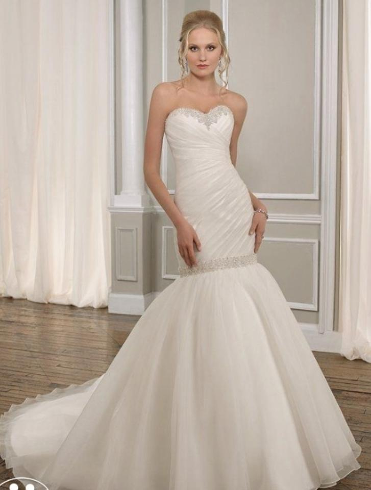 Mori Lee Ivory Organza Bridal Gown 1665 Feminine Wedding Dress Size ...
