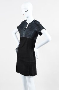 Balenciaga short dress Black Leather Suede Short Sleeve V Neck on Tradesy