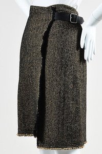 Etro Black Herringbone Skirt Brown