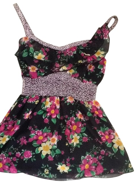 Self Esteem Top Black with pink and yellow floral.