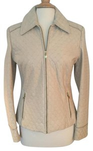St. John Quilted Beige Leather Jacket