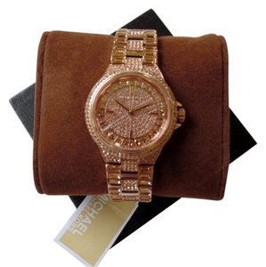 Michael Kors Michael Kors Women's Camille Rose Gold-Tone Crystals Glitz Dial Band Watch MK5948