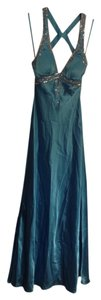 Adrianna Papell Ball Prom Sparkle Gown Small Blue Aqua Floor Length Satin Train Shiny Glitter Dress