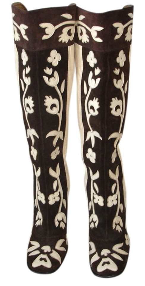 Dolce&Gabbana Brown Exotic Floral Floral Exotic Design Boots/Booties 84e330
