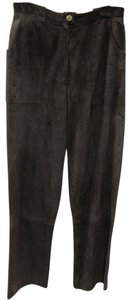Chanel Suede Straight Pants Brown