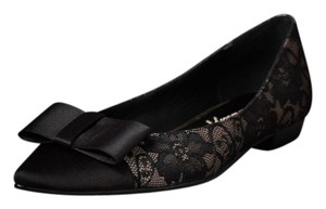 Anthropologie Flat Beverly Feldman Bow Nude and black lace Flats