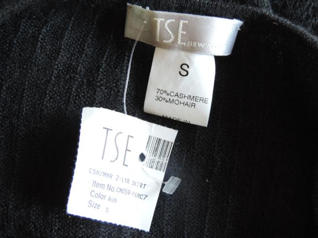 TSE Double Layered Cashmere Knit Skirt black & white