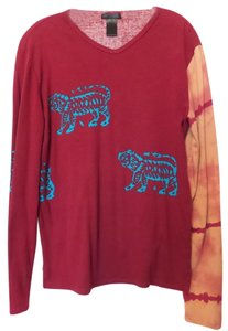 Custo Barcelona Xl Tiger Oversized Cotton Top Red w/ Multi-Color