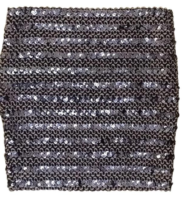 Moda International Mini Skirt Black with blue sequence and grey detail