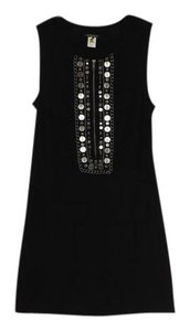 Nanette Lepore Merino Wool Knit Chain & Stud Detail Sleeveless Dress