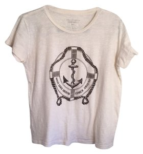 What Goes Around Comes Around T Shirt Cream with brown anchor